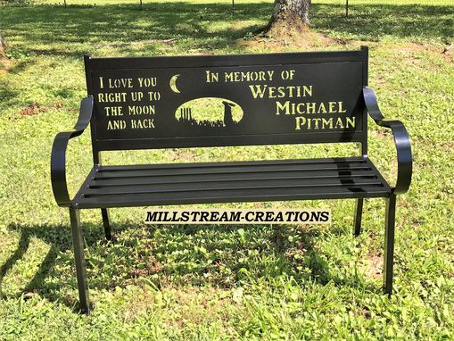 Custom Made Custom Built Metal Memorial Park Bench With Custom Design In Backrest Outdoor Or Indoor