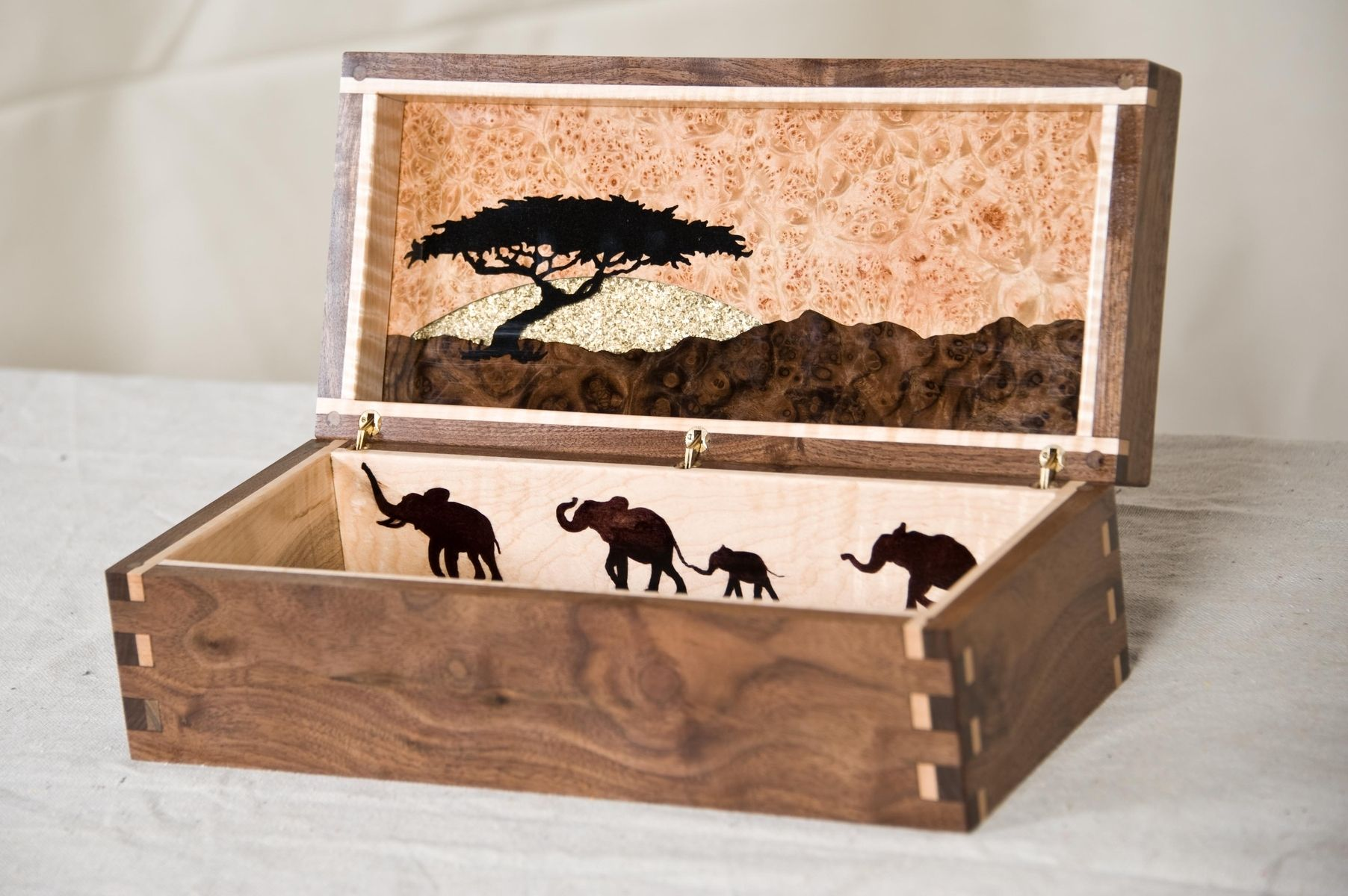 Custom african themed jewelry box by awl woodworks for Custom made ring box