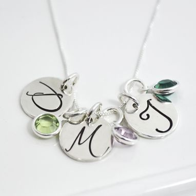 Custom Made Personalized Mothers Necklace With Initail Charms And Birthstones