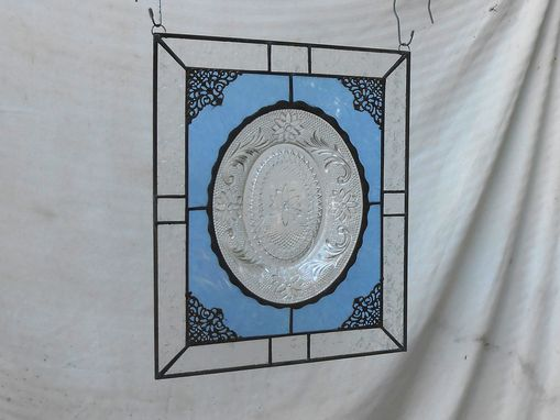 Custom Made Stained Glass Window Panel W/ Recycled Vintage Glass, Suncatcher, Crystal Tiara Sandwich Glass Plate