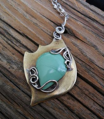 Custom Made Sterling Silver And Nugold Necklace With Variscite Stone