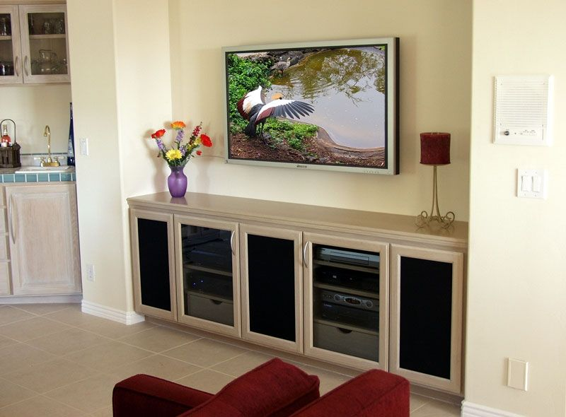 Custom Made Built In Tv Credenza Stand With Wall Mounted Flat Panel Hdtv
