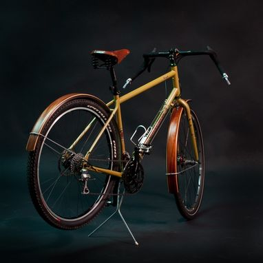 Custom Made Wood Fenders On Salsa Bicycle