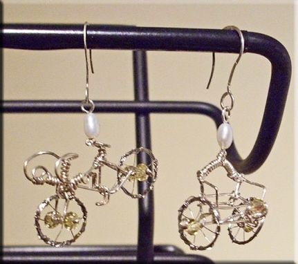 Custom Made Asymmetrical Bicycle And Rickshaw Cart Earrings