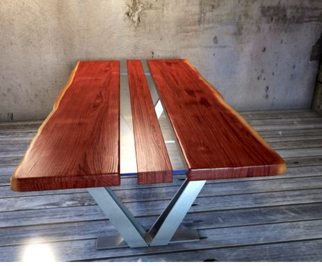 Custom Made Black Walnut Live Edge V Frame Dining Table