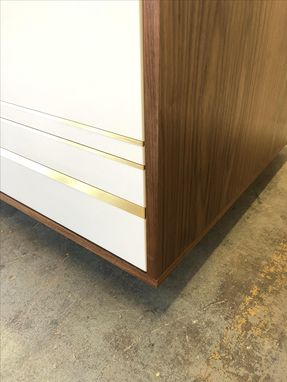 Custom Made Walnut Credenza With Lacquered Door & Brass Inlay