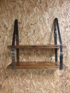Custom Made Vintage Leather Belt And Reclaimed Wood Shelving