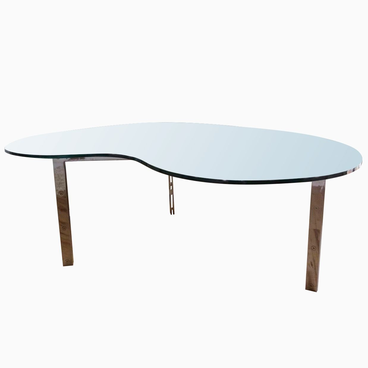 metal modern sculptural polished stainless steel dining table base