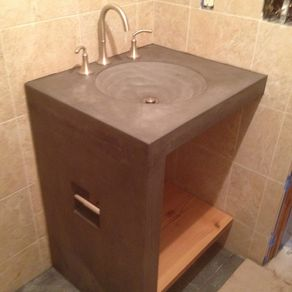Hand Made Concrete Topographic Sink By Concrete Pete