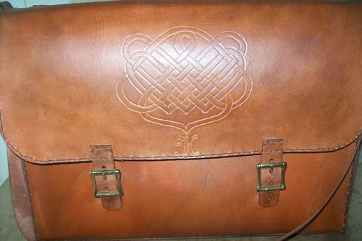 Custom Made Custom Leather Laptop Bag With Celtic Design In Weathered Color
