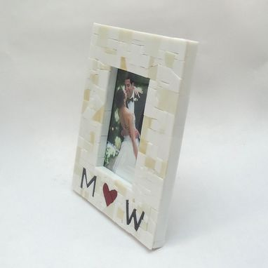 Custom Made Personalized Mosaic Wedding Picture Frame With Couples Initials & Red Heart