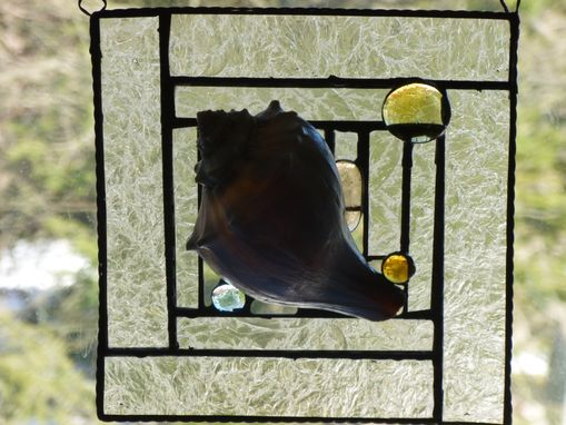 Custom Made Stained Glass Abstract Mixed Media Art With Shell
