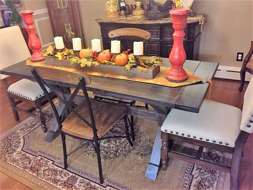 Custom Made Rustic Farmhouse Farm Trestle Dining Table