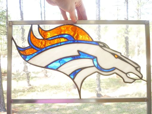 Custom Made Broncos Sports Stained Glass