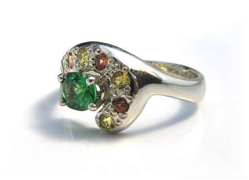 Custom Made Stunning Custom Tsavorite Garnet & Sapphire Ring 14k Handmade White Gold