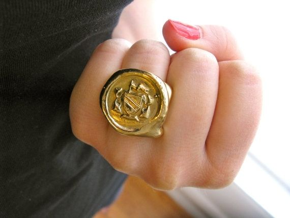 Custom Made Gold Bronze Wax Seal Signet Ring
