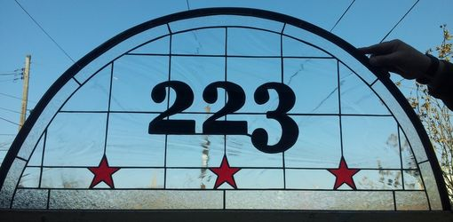 "Custom Made Stained Glass Address Marker - ""Stylish Dc Pride"" (Am-161)"