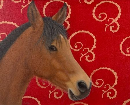 Custom Made Horse Painting On Canvas 16 X 20 - Bay Arab Gelding With Cherry Red And Copper Scroll In Black Frame