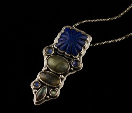 Custom Made Moody Twilight Carved Lapis Pendant