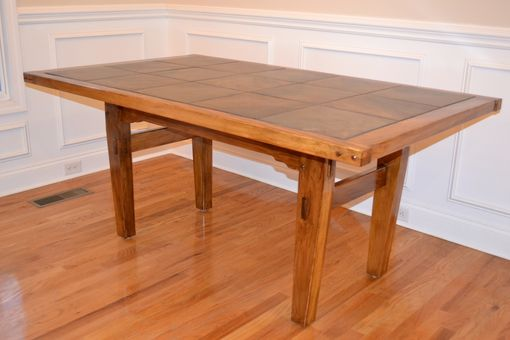 Custom Made Cypress Dining Table With Tile Top