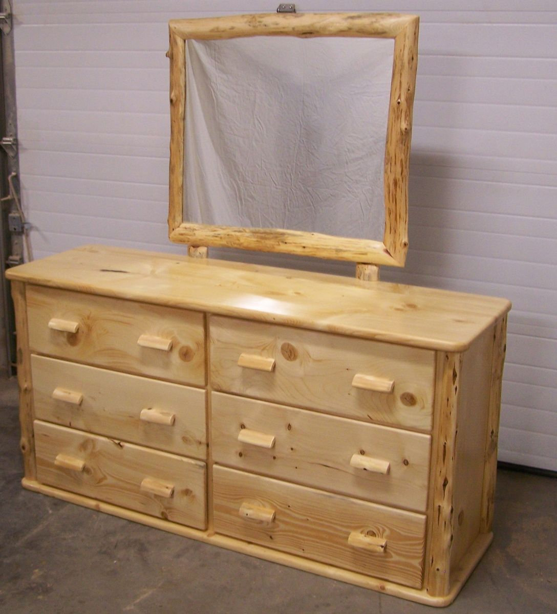 Custom Made Knotty Pine Six Drawer Dresser