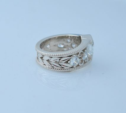 Custom Made 14kt White Gold Art Noveau Custom Designed Ring With 3cts Tw Diamonds