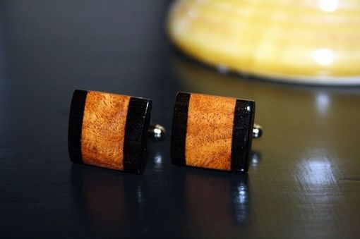 Custom Made Amboyna Burl And Gaboon Ebony Cuff Links