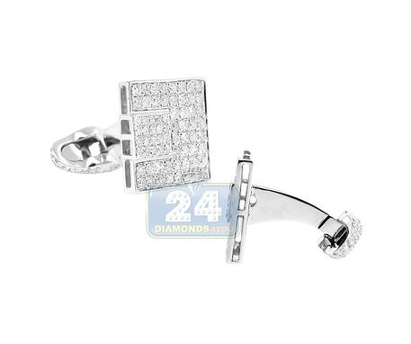 Custom Made 14k White Gold Mens 3.56 Ct Diamond Cuff Links