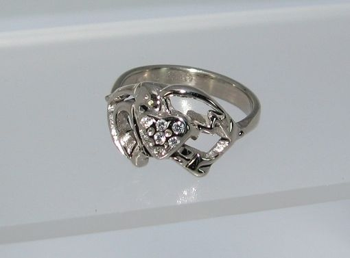 Custom Made Anniversary Ring Outline Of Sparrow Raised Heart