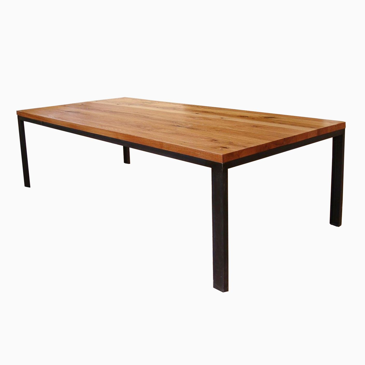 Jackson Rectangular Table With Metal Base: Structural Steel And Reclaimed