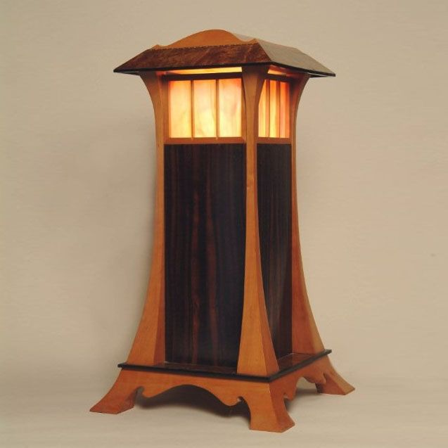 Custom Made Elegant Wood And Stained Glass Lantern By