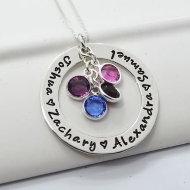 Custom Made Mother's Personalized Necklace With Birthstones