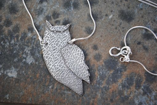 Custom Made Sterling Silver Owl Pendant