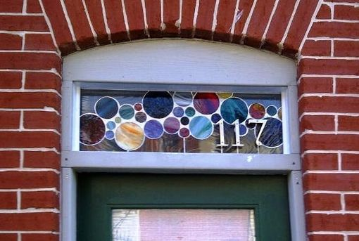 Custom Made Contemporary Stained Glass Window / Transom With 3d House Numbers (Am-1)