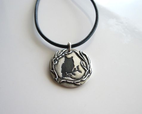 Custom Made Fine Silver Owl Pendant