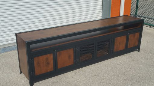 Custom Made Industrial Media Console With Component Niche #003xlb •