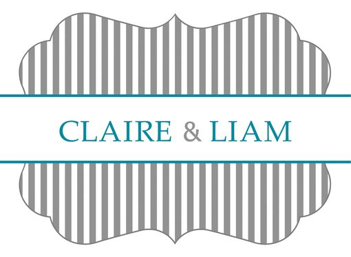 Custom Made Custom Wedding Stickers Die Cut - Stripes Pattern - Guest Bag Labels