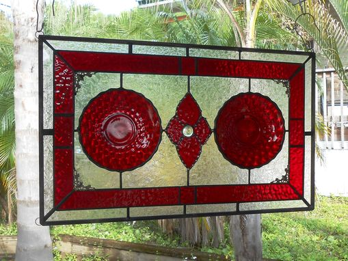 Custom Made Stained Glass Window Panel, Depression Glass Plate Valance, Ruby Red Bubble