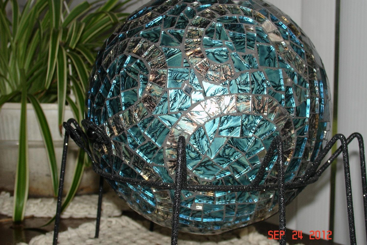 Custom Made Stained Glass Mosaic Gazing Ball In Van Gogh