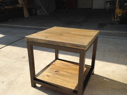 Custom Made Recycled Metal Frame Side Table