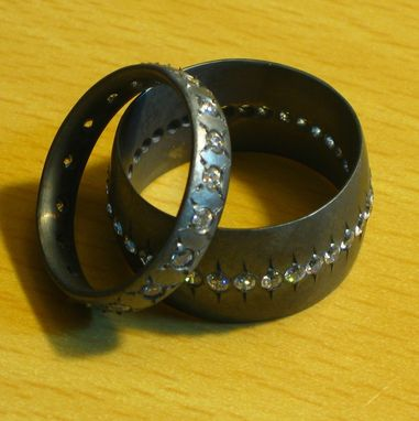 Custom Made Girlfriend/Boyfriend Ring Set Sterling Silver And Cz