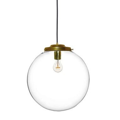 "Custom Made 16"" Clear Blown Glass Globe Chandelier Pendant Light- Brass"