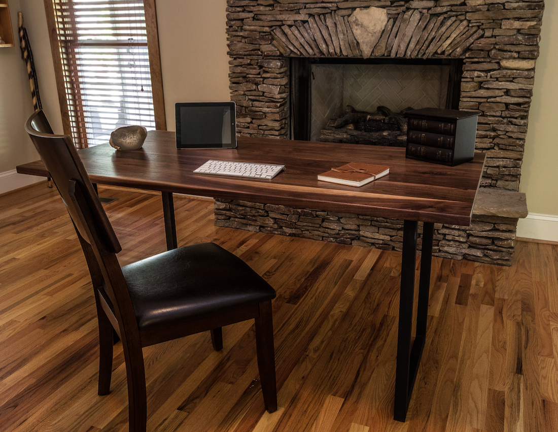 Custom Made Walnut Wood Desk Modern