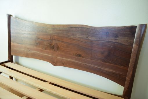 Custom Made Mid Century Modern Platform Bed With Live Edge Headboard