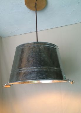 Custom Made Galvanized Pail Tub Bucket Pendant Light