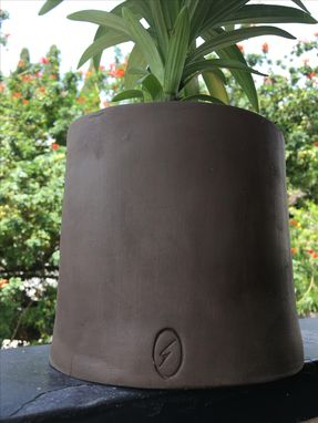 Custom Made A Black Plant Pot Unglazed.