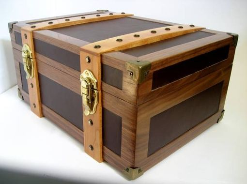 Custom Made Walnut & Leather Tabletop Humidor - The Steamer