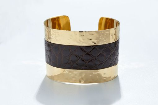 Custom Made Genuine Alligator Luxury Cuff/Bracelet With Hammered Gold Finish In Dark Brown - Exotic Leather