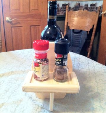 Custom Made 2 Bottle Table Top Wooden Wine Rack & Condiment Holders