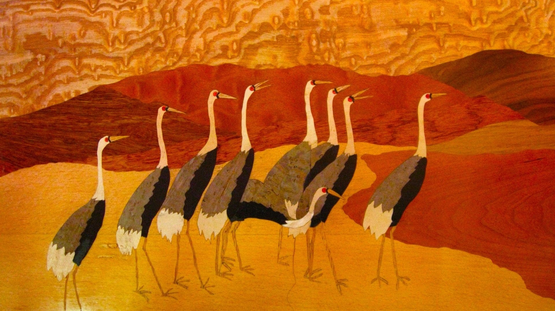 Custom Made Marquetry Landscape Japanese Cranes By Mt